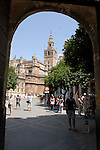 Cathedral of Saint Mary of the See and La Giralda in Seville, Spain is the largest gothic cathedral in the world. It occupies the site of Hagia Sophia, a mosque built by the Almohads in the late 12th century. La Giralda, its bell tower, is a legacy from the Moorish structure.