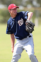 Washington Nationals pitcher Alex Meyer #54 poses for a photo before an Instructional League game against the national team from Italy at Carl Barger Training Complex on September 28, 2011 in Viera, Florida.  (Mike Janes/Four Seam Images)