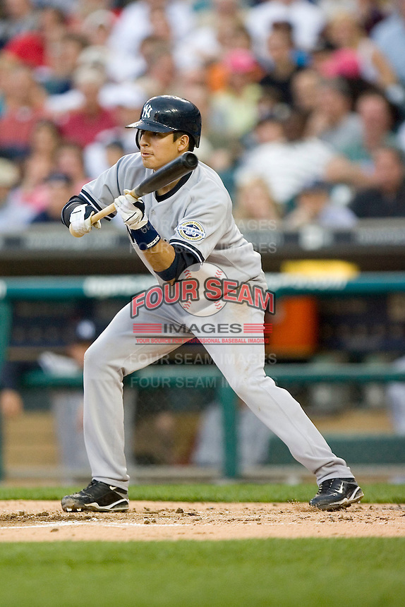 Ramiro Pena #19 of the New York Yankees squares to attempt a bunt at Comerica Park April 27, 2009 in Detroit, Michigan.  Photo by Brian Westerholt / Four Seam Images