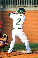 Brad Elwood (2) of the Charlotte 49ers at bat against the Delaware State Hornets at Robert and Mariam Hayes Stadium on February 15, 2013 in Charlotte, North Carolina.  The 49ers defeated the Hornets 13-7.  (Brian Westerholt/Four Seam Images)