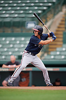 GCL Braves Stephen Paolini (18) at bat during a Gulf Coast League game against the GCL Orioles on August 5, 2019 at Ed Smith Stadium in Sarasota, Florida.  GCL Orioles defeated the GCL Braves 4-3 in the first game of a doubleheader.  (Mike Janes/Four Seam Images)