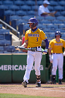East Carolina Pirates Ryder Giles (3) bats during a game against the Memphis Tigers on May 25, 2021 at BayCare Ballpark in Clearwater, Florida.  (Mike Janes/Four Seam Images)
