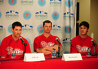 February 14, 2011; Clearwater, FL, USA; Philadelphia Phillies pitchers Cliff Lee (left) Roy Oswalt (center) and Cole Hamels at a press conference during spring training at Bright House Networks Field. Mandatory Credit: Mark J. Rebilas-
