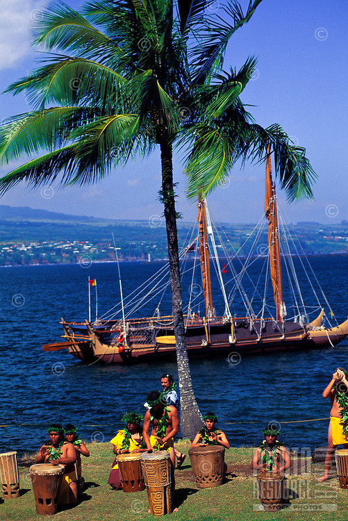 The Hokulea, a replica of the ancient Polynesian voyaging canoe, gets ready to depart from Hilo Bay on the Big Island with a formal native Hawaiian ceremony.