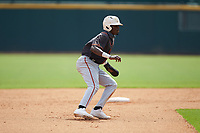 Jay Allen (17) of John Carroll Catholic HS in Fort Pierce, FL playing for the San Francisco Giants scout team takes his lead off of second base during the East Coast Pro Showcase at the Hoover Met Complex on August 3, 2020 in Hoover, AL. (Brian Westerholt/Four Seam Images)