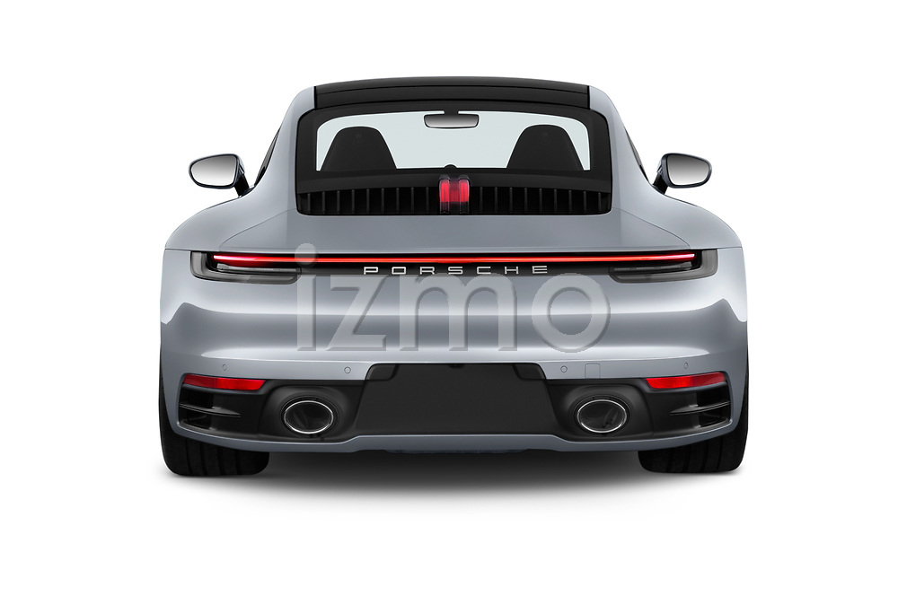 Straight rear view of a 2020 Porsche 911 Carrera S 2 Door Coupe stock images
