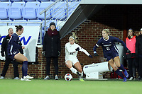CHAPEL HILL, NC - NOVEMBER 16: Emma Sharou #16 of Belmont University is chased by Taylor Otto #6 of the University of North Carolina during a game between Belmont and North Carolina at UNC Soccer and Lacrosse Stadium on November 16, 2019 in Chapel Hill, North Carolina.