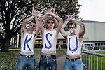 Kansas State fans show their support for Kansas Srate before and during the game between the Kansas State Wildcats and the TCU Horned Frogs at the Amon G. Carter Stadium in Fort Worth, Texas. Kansas State defeats TCU 23 to 10....