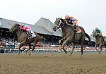 Caleb's Posse (no. 2), ridden by Rajiv Maragh and trained by Donnie Von Hemel, defeats Uncle Mo (no. 7) and wins the 27th running of the grade 1 King's Bishop Stakes for three year olds on August 27, 2011 at Saratoga Race Track in Saratoga Springs, New York.  (Bob Mayberger/Eclipse Sportswire)