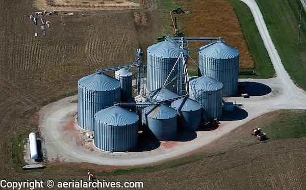 aerial photograph grain silos in Iowa