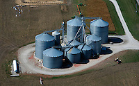 aerial photograph grain silos in Iowa