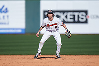 Oregon State Beavers second baseman Jake Harvey (2) during an NCAA game against the New Mexico Lobos at Surprise Stadium on February 14, 2020 in Surprise, Arizona. (Zachary Lucy / Four Seam Images)