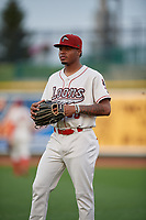 Great Lakes Loons pitcher Jasiel Alvino (36) during a Midwest League game against the Clinton LumberKings on July 19, 2019 at Dow Diamond in Midland, Michigan.  Clinton defeated Great Lakes 3-2.  (Mike Janes/Four Seam Images)