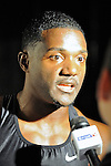 Justin Gatlin after finishing fourth in the men's 50 meter dash at the first U.S. Open on January 29, 2012 at Madison Square Garden in New York, New York.  (Bob Mayberger/Eclipse Sportswire)