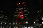 """June 2, 2020, Tokyo, Japan - The Tokyo City Hall is lit up in red color after changing from rainbow colors for the """"Tokyo alert"""" in Tokyo on Tuesday, June 2, 2020. Tokyo Metropolitan government confirmed 34 people became infected with the new coronavirus on the day and Governor Yuriko Koike warned the """"Tokyo alert"""" for Tokyo residents.     (Photo by Yoshio Tsunoda/AFLO)"""