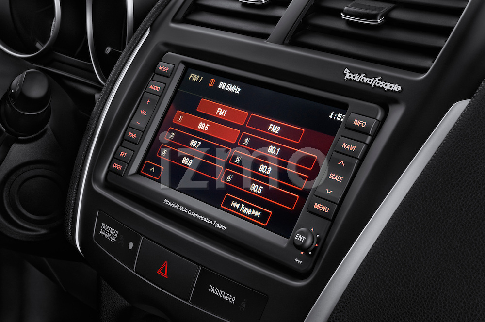 Stereo audio system close up detail view of a 2011 Mitsubishi Outlander Sport SE