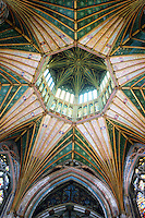 """Ely: Ely Cathedral--Octagon and Lantern, concieved by Alan of Walsingham 1336. Total weight, 400 Tons. """"Ely's Chief Glory"""".  Reference only."""