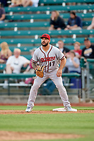 Richmond Flying Squirrels first baseman K.C. Hobson (17) waits to receive a throw during a game against the Altoona Curve on May 15, 2018 at Peoples Natural Gas Field in Altoona, Pennsylvania.  Altoona defeated Richmond 5-1.  (Mike Janes/Four Seam Images)