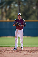 Hayden Ebrecht (9) of Katy High School in Katy, Texas during the Baseball Factory All-America Pre-Season Tournament, powered by Under Armour, on January 13, 2018 at Sloan Park Complex in Mesa, Arizona.  (Mike Janes/Four Seam Images)
