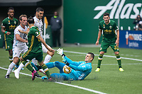 Portland, Oregon - Sunday September 22, 2019: Vito Mannone #1 saves a shot during a regular season game between Portland Timbers and Minnesota United at Providence Park on September 22, 2019 in Portland, Oregon.