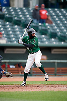 Great Lakes Loons right fielder Carlos Rincon (40) at bat during a game against the Burlington Bees on May 4, 2017 at Dow Diamond in Midland, Michigan.  Great Lakes defeated Burlington 2-1.  (Mike Janes/Four Seam Images)