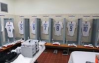 GEORGETOWN, GRAND CAYMAN, CAYMAN ISLANDS - NOVEMBER 19: USMNT locker room during a game between Cuba and USMNT at Truman Bodden Sports Complex on November 19, 2019 in Georgetown, Grand Cayman.