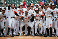The Sam Houston State Bearkats wait at home plate for the arrival of teammate Hunter Hearn (not pictured) following Hearn's walk-off 2-run home run against the Vanderbilt Commodores in the bottom of the 10th inning in game one of the 2018 Shriners Hospitals for Children College Classic at Minute Maid Park on March 2, 2018 in Houston, Texas.  The Bearkats walked-off the Commodores 7-6 in 10 innings.   (Brian Westerholt/Four Seam Images)