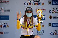 PEREIRA - COLOMBIA, 17-06-2021:  Lina Hernandez, campeona podium sub-23 damas contrareloj individual. Campeonatos Nacionales de Ciclismo de Ruta se realiza entre el 17 y el 20 de junio de 2021 en el departamento de Risaralda, dividida en contrarreloj y el circuito. La carrera cuenta con las categorías damas elites y sub 23; y hombres sub 23 y elites. / Lina Hernandez, champion sub-23 ladies individual time trial. National Road Cycling Championships is held between June 17 and 20, 2021 in the department of Risaralda, divided into time trial and circuit. The race has the categories ladies elites and sub 23; and men under 23 and elites . Photo: VizzorImage / Santiago Castro / Cont