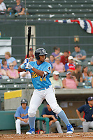 Myrtle Beach Pelicans infielder Wladimir Galindo (44) at bat during a game against the Potomac Nationals at Ticketreturn.com Field at Pelicans Ballpark on July 1, 2018 in Myrtle Beach, South Carolina. Myrtle Beach defeated Potomac 6-1. (Robert Gurganus/Four Seam Images)