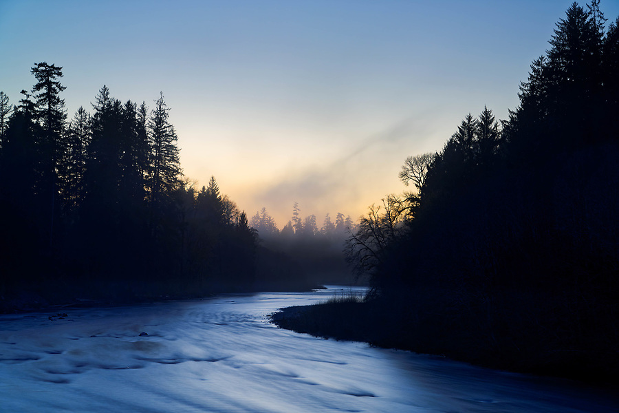 Dusk falls over the Queets River, Queets rainforest, Olympic National Park, Jefferson County, Washington, USA