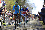 Riders, including Arnaud Demare (FRA) FDJ, tackle Sector 18 la Trouee de Arenberg during the 113th edition of the Paris-Roubaix 2015 cycle race held over the cobbled roads of Northern France. 12th April 2015.<br /> Photo: Eoin Clarke www.newsfile.ie