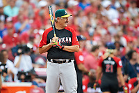 Oakland Athletics great Rollie Fingers bats during the All-Star Legends and Celebrity Softball Game on July 12, 2015 at Great American Ball Park in Cincinnati, Ohio.  (Mike Janes/Four Seam Images)