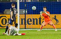 CARSON, CA - OCTOBER 14: James Marcinkowski #18 GK of the San Jose Earthquakes ready's himself for a  ball during a game between San Jose Earthquakes and Los Angeles Galaxy at Dignity Heath Sports Park on October 14, 2020 in Carson, California.