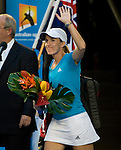 January 30, 2010. Justine Henin of Belgium, entering the court for her womens singles final against Serena Williams, of the USA, in the final of the Women's Singles Championship of The Australian Open, Melbourne Park, Melbourne, Australia
