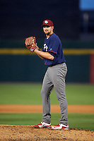 Lehigh Valley IronPigs relief pitcher Phil Klein (48) gets ready to deliver a warmup pitch during a game against the Buffalo Bisons on July 9, 2016 at Coca-Cola Field in Buffalo, New York.  Lehigh Valley defeated Buffalo 9-1 in a rain shortened game.  (Mike Janes/Four Seam Images)