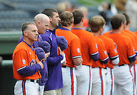 May 11, 2009: Head coach Jack Leggett (7) of the Clemson Tigers, left, and his team listen to the National Anthem prior to a game against the Furman Paladins at Fluor Field at the West End in Greenville, S.C. Photo by: Tom Priddy/Four Seam Images