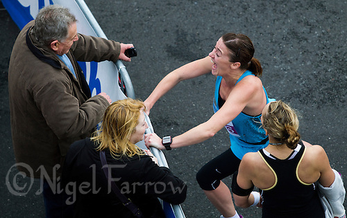 09 SEP 2011 - CHESTER, GBR - Lisa Fawcett talks with supporters  after completing the MBNA Chester Marathon .(PHOTO (C) NIGEL FARROW)