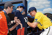Michigan Wolverines center fielder Jonathan Engelmann (2) signs autographs before a game against Army West Point on February 17, 2018 at Tradition Field in St. Lucie, Florida.  Army defeated Michigan 4-3.  (Mike Janes/Four Seam Images)