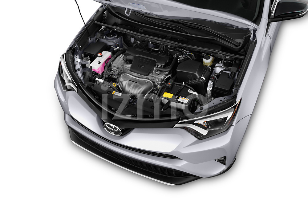 Car Stock 2018 Toyota RAV4 SE 5 Door SUV Engine  high angle detail view
