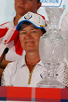 6th September 2021: Toledo, Ohio, USA;  Captain Catriona Matthew of Team Europe speaks at a press conference after Team Europe retained the Solheim Cup during the Solheim Cup on September 6, 2021 at Inverness Club in Toledo, Ohio.