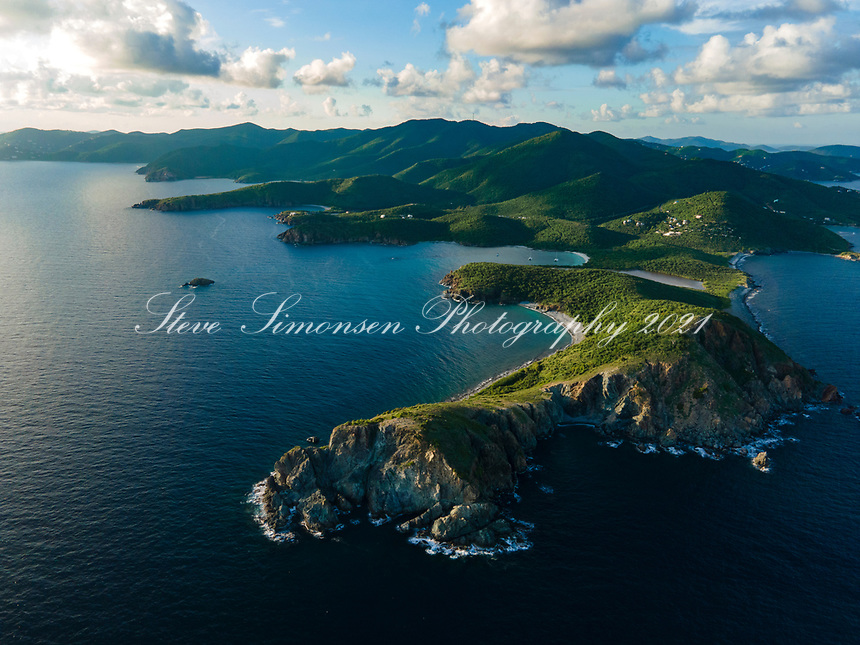 Aerial view of Ram Head and St. John looking west<br /> US Virgin Islands