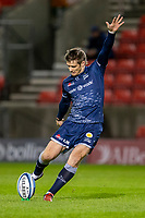 20th November 2020; AJ Bell Stadium, Salford, Lancashire, England; English Premiership Rugby, Sale Sharks versus Northampton Saints; AJ Macginty of Sale Sharks kicks a conversion to put Sale ahead 10-0