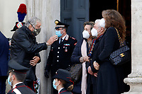 Actors Maurizio Mattioli, Paola Gassman and Ugo Pagliai during the funeral of the Italian actor Gigi Proietti. The actor was taken to the Globe Theatre for a short ceremony before the one in the church of Artist in Piazza del popolo.<br /> Rome (Italy), November 5th 2020<br /> Photo Samantha Zucchi Insidefoto
