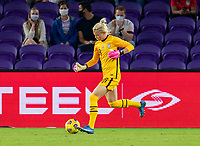 ORLANDO, FL - FEBRUARY 24: Jane Campbell #18 of the USWNT passes the ball during a game between Argentina and USWNT at Exploria Stadium on February 24, 2021 in Orlando, Florida.