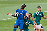 SC Kitchee Forward Alexander Akande (L) fights for the ball with Diego Eli Moreira of Long Lions (R) during the Community Cup match between Kitchee and Eastern Long Lions at Mong Kok Stadium on September 23, 2017 in Hong Kong, China. Photo by Marcio Rodrigo Machado / Power Sport Images