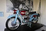 Bianchi also made motorcycles, a 2 stroke made from 1951 to 1953, on dispaly in reception Bianchi Factory, Treviglio, Italy. 30th September 2015.<br /> Picture: Eoin Clarke | Newsfile