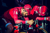 Team Katusha-Alpecin waiting in the morning light to mount the presentation podium before the race start<br /> <br /> 101th Ronde Van Vlaanderen 2017 (1.UWT)<br /> 1day race: Antwerp › Oudenaarde - BEL (260km)