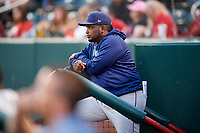 Corpus Christi Hooks manager Rodney Linares (33) in the dugout during a game against the Springfield Cardinals on May 31, 2017 at Hammons Field in Springfield, Missouri.  Springfield defeated Corpus Christi 5-4.  (Mike Janes/Four Seam Images)