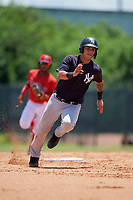 GCL Yankees East Antonio Gomez (9) running the bases during a Gulf Coast League game against the GCL Phillies West on August 3, 2019 at the Carpenter Complex in Clearwater, Florida.  The GCL Yankees East defeated the GCL Phillies West 4-0, the second game of a doubleheader.  (Mike Janes/Four Seam Images)
