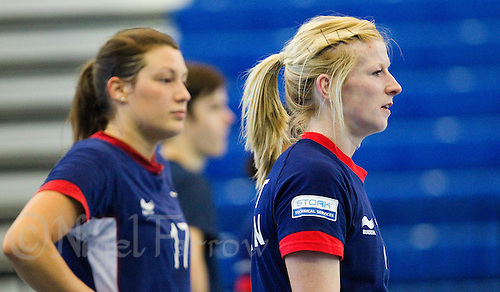 06 APR 2012 - LONDON, GBR - Lynn McCafferty (right) waits for the start of a practice match during a Great Britain team training session  (PHOTO (C) 2012 NIGEL FARROW)